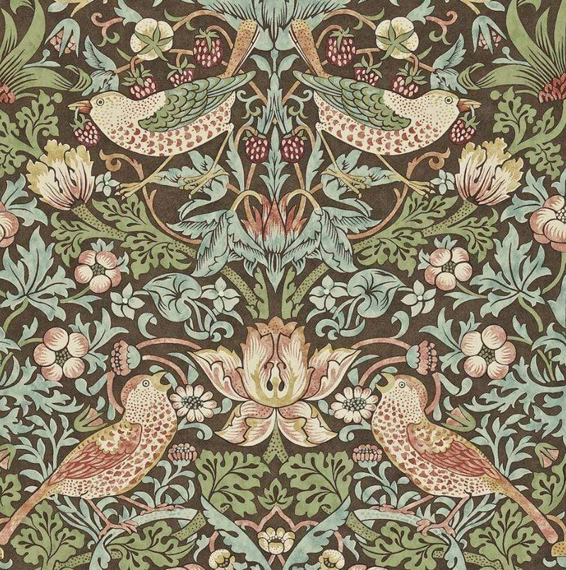William Morris Wallpaper 1 x Chocolate/Slate Strawberry Thief Wallpaper Roll William Morris Strawberry Thief Wallpaper