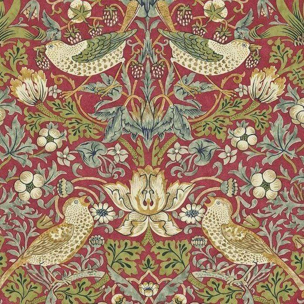 William Morris Wallpaper 1 x Crimson/Slate Strawberry Thief Wallpaper Roll William Morris Strawberry Thief Wallpaper