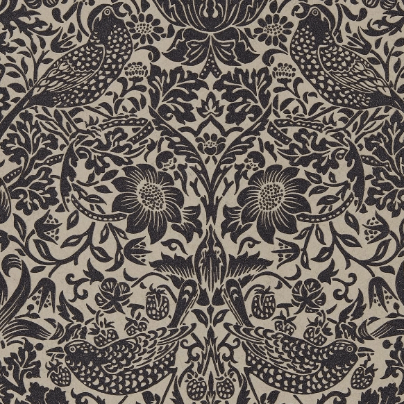 William Morris Wallpaper 1 x Gilver/Graphite Strawberry Thief Wallpaper Roll William Morris Pure Strawberry Thief Wallpaper