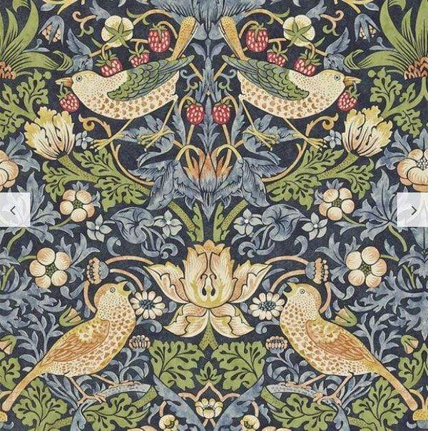 William Morris Wallpaper 1 x Indigo/Mineral Strawberry Thief Wallpaper Roll William Morris Strawberry Thief Wallpaper