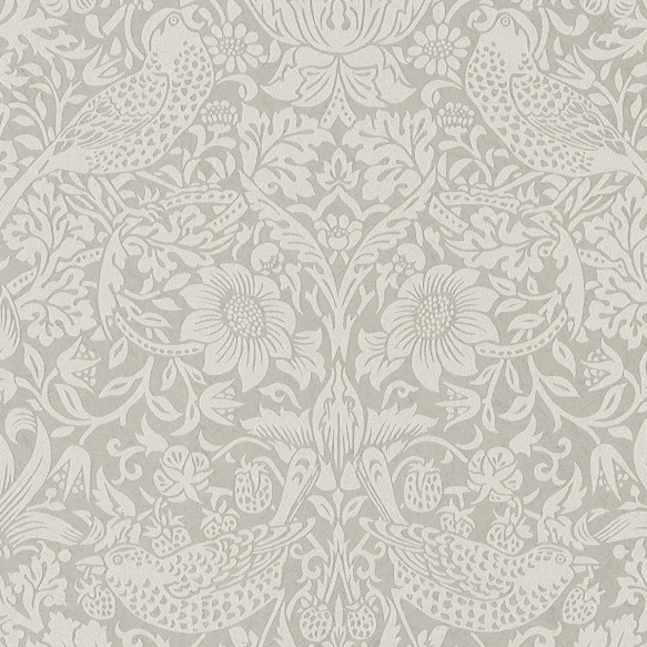 William Morris Wallpaper 1 x Silver/Stone Strawberry Thief Wallpaper Roll William Morris Pure Strawberry Thief Wallpaper