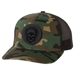 Black Leather Patch Goon Squad Hat - Army Camo/Black