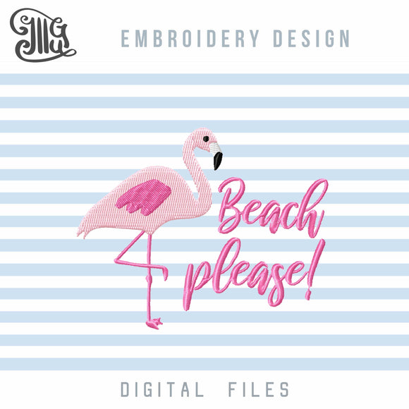 Summer embroidery designs | Vacation embroidery patterns | Tropical embroidery files | Flamingo embroidery stitches | Beach embroidery | Camping embroidery | Lake embroidery