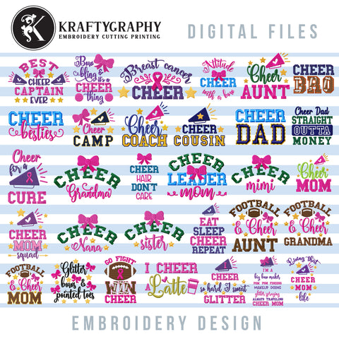Cheer embroidery designs bundle, cheerleader embroidery patterns, machine embroidery sayings for cheerleader