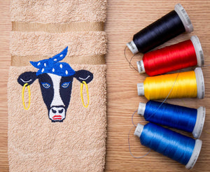 Cow head embroidery design for kitchen towels | embroidery thread | embroidered towel | cow face pes | cow with banadana jef | 4 x 4