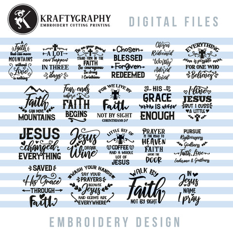 Religious embroidery bundle, christian embroidery patterns, catholic embroidery sayings