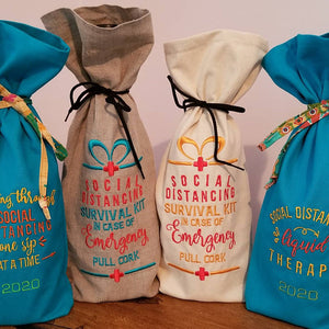 wine bottle bags embroidery designs with funny social distancing sayings
