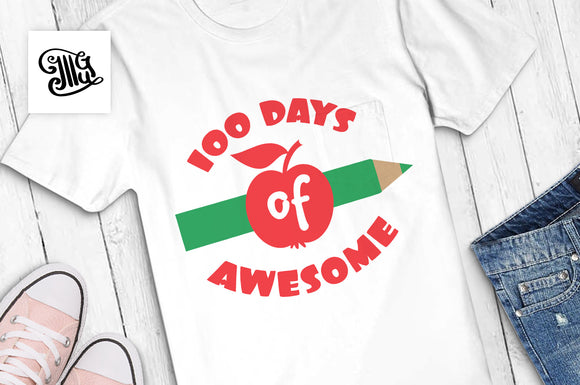 Free 100 days of awesome svg | 100 days of school for boys svg |100th day of school svg | 100 days of school svg-by Illustrator Guru