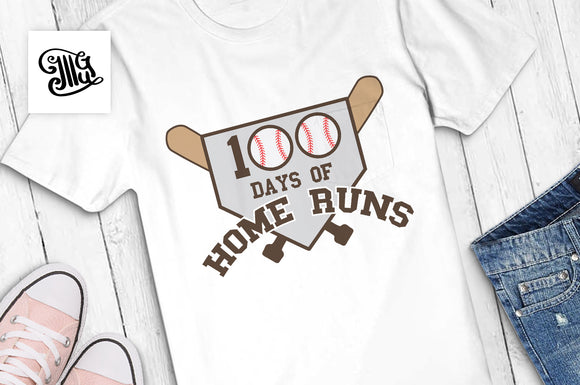 100 Days of School Baseball Svg for boys shirts school celebration of 100th day of school-by Illustrator Guru