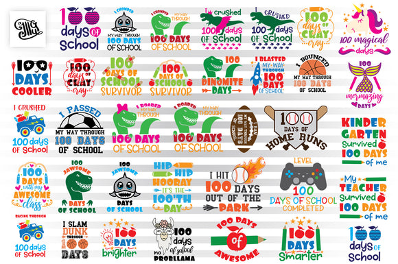 100 Days of School SVG Bundle, 100 Magical Days of School Clipart, Shirt Sublimation Images, I Crushed 100 Days of School SVG Cut Files, Dinosaur SVG, Football SVG, Baseball SVG, Unicorn SVG, Llama SVG, Truck SVG, Basketball SVG, Soccer SVG-by Illustrator Guru