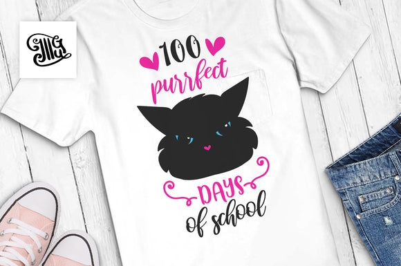 100 days of school svg with cute cat for girls and teacher shirts design ideas-by Illustrator Guru