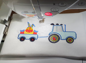 Easter Tractor Embroidery Design, Bunny Embroidery Design, Easter Egg Embroidery Design, Easter Truck Applique Design-by Illustrator Guru