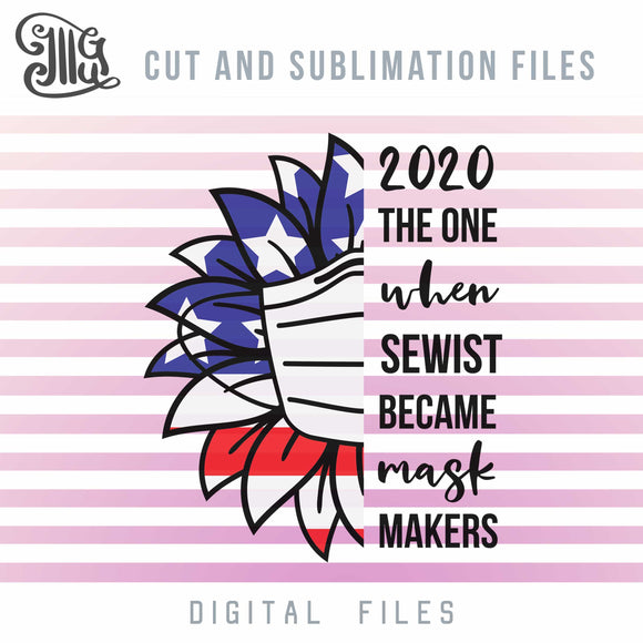 2020 Mask Maker Svg Files, Half Sunflower Svg Cut File, American Flag Pattern Sublimation Clipart-by Illustrator Guru