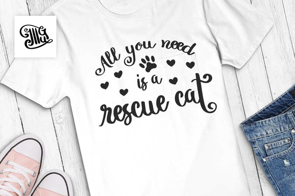 Cat mom svg | All you need is a rescue cat svg | Rescue cat svg-by Illustrator Guru
