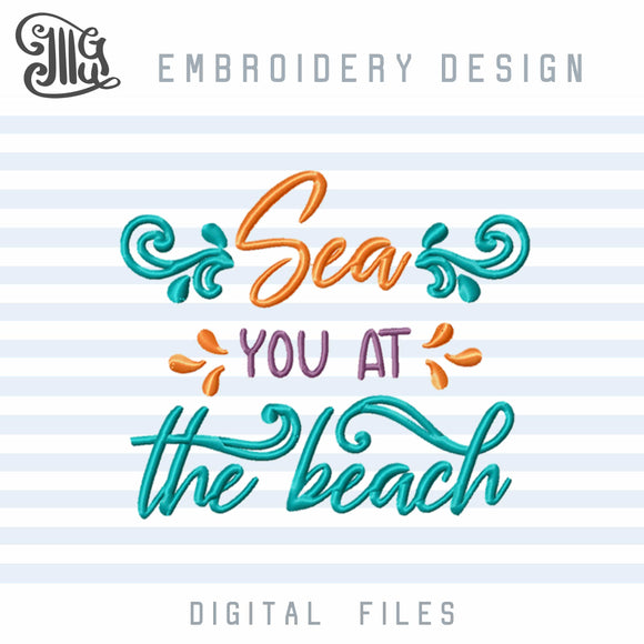 Beach Sayings Embroidery Designs, Sea Embroidery Patterns, Summer Embroidery, Vacation Embroidery, Travel Embroidery, Ocean Waves Embroidery, Girl Embroidery, Summer Dresses Embroidery, Beach Bags Embroidery, Beach Towels Embroidery-by Illustrator Guru