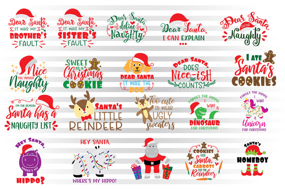 Christmas SVG Bundle, Christmas Clipart for Kids, Christmas Ugly Sweater Sublimation Images, Santa Hat SVG Files, Dog Face SVG Cut Files, Santa Cookies SVG, Unicorn SVG, Hippo SVG, Elf SVG, Christmas Girl SVG, Christmas Boy SVG, Christmas Dinosaur SVG,-by Illustrator Guru