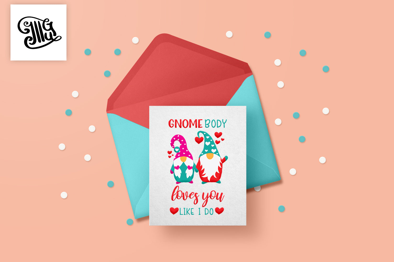 Valentine gnome svg for DIY valentine cards printable | Valentine shirt SVG | Cute gnome couple svg | Gnomebody love you like I do |-by Illustrator Guru