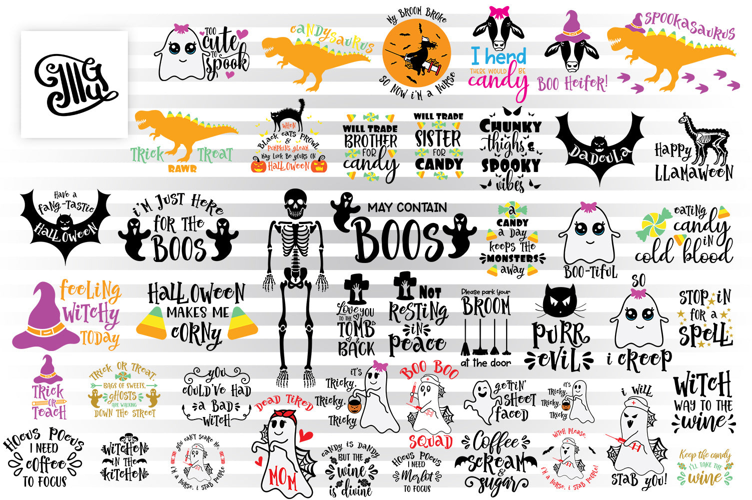Halloween SVG Bundle, Halloween Sayings Clipart, Witch Sublimation Images, Dinosaur Cut Files, Halloween Kids SVG Designs, SVG Quotes, Witch Hat SVG, Skeleton SVG, Cute Ghost SVG, Halloween Party SVG, Drinking SVG, Nurse SVG, Mom SVG, Dad SVG-by Illustrator Guru