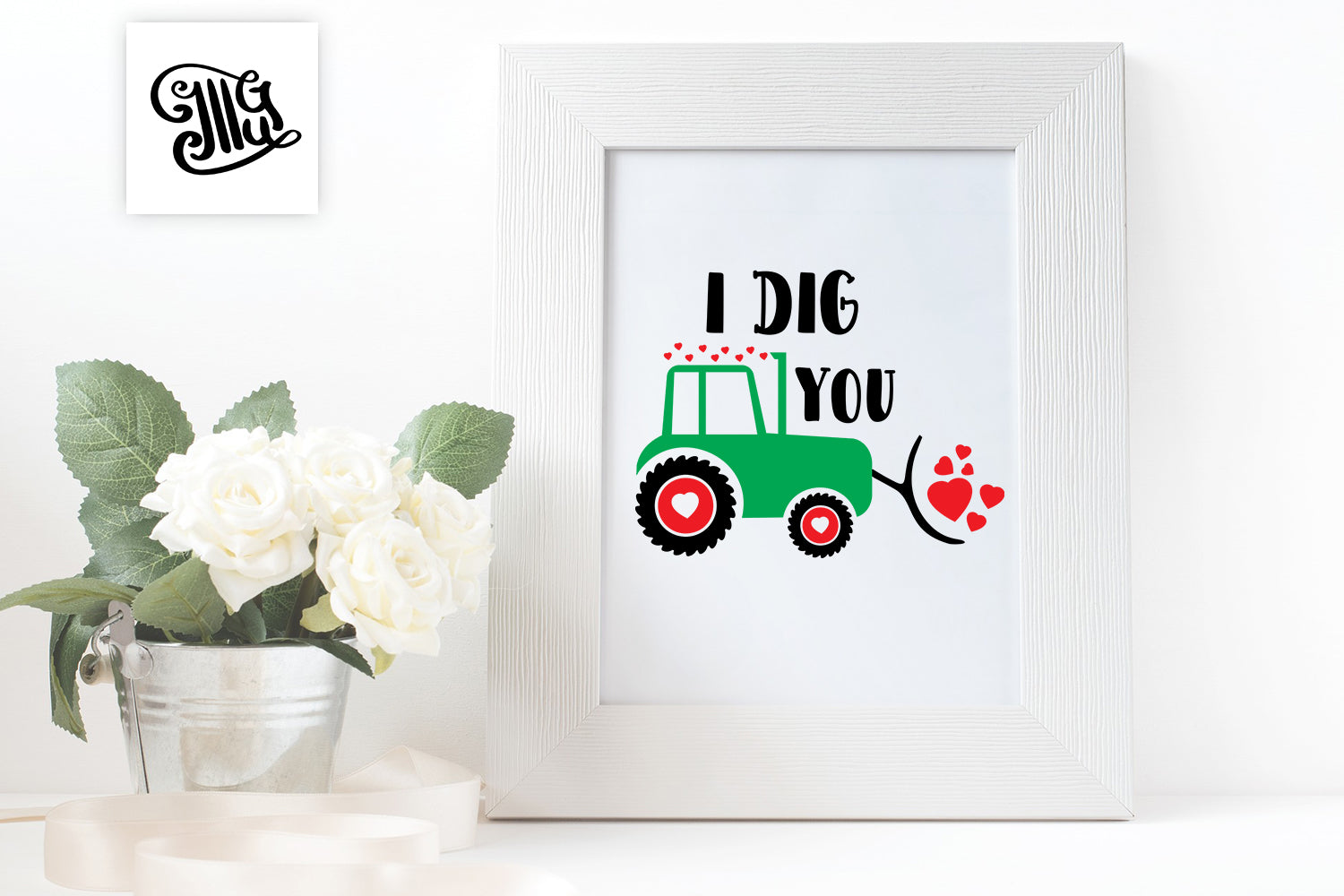 I dig you, boy Valentine svg with cute farm tractor-by Illustrator Guru