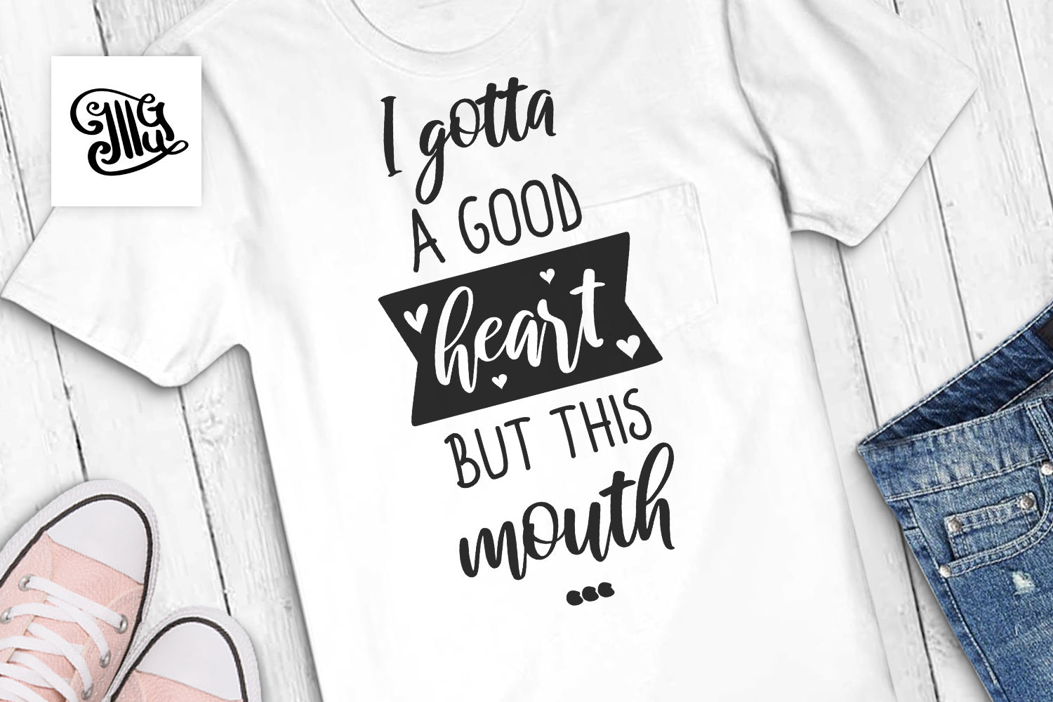 I gotta a good heart but this mouth... svg | Southern SVG | Sassy SVG | Girl svg-by Illustrator Guru