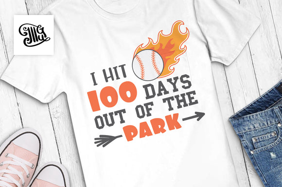 100 Days of School Baseball Svg for boys shirts-by Illustrator Guru