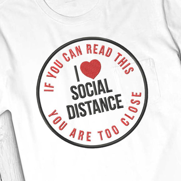 Social Distance Embroidery Designs Free, Social Distance Applique Free, Quarantine Embroidery Pattern Free, Social Distance Machine Embroidery, Social Distance Pes File, Free embroidery-by Illustrator Guru