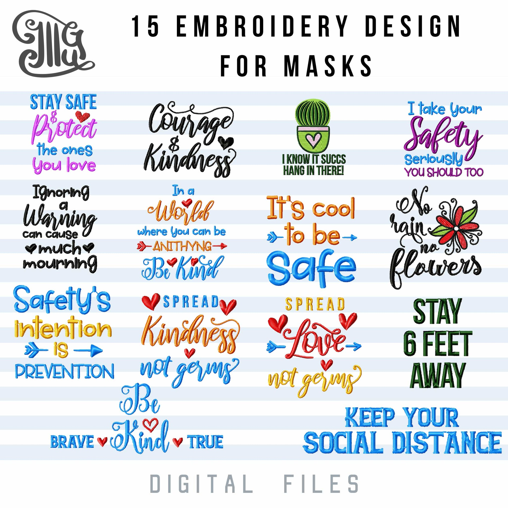 Face Masks Embroidery Designs Mouth Masks Sayings Embroidery Pattern Illustrator Guru