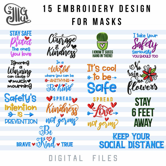Face Masks Embroidery Designs, Mouth Masks Sayings Embroidery Pattern, Social Distancing Embroidery Files, Motivational Embroidery Stitches, Kind Embroidery, Love Emrboidery, Keep Your Distance Embroidery, Stay 6 Feet Away Embroidery,-by Illustrator Guru