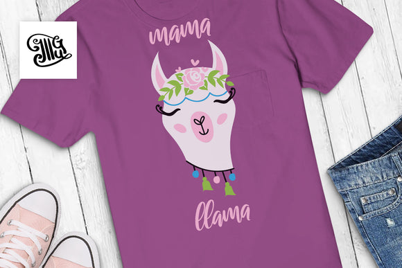 Mama llama sVG | Mother's day svg | llama svg | llama face SVG | llama head sVG | llama clipart | alpaca svg | birthday svg-by Illustrator Guru