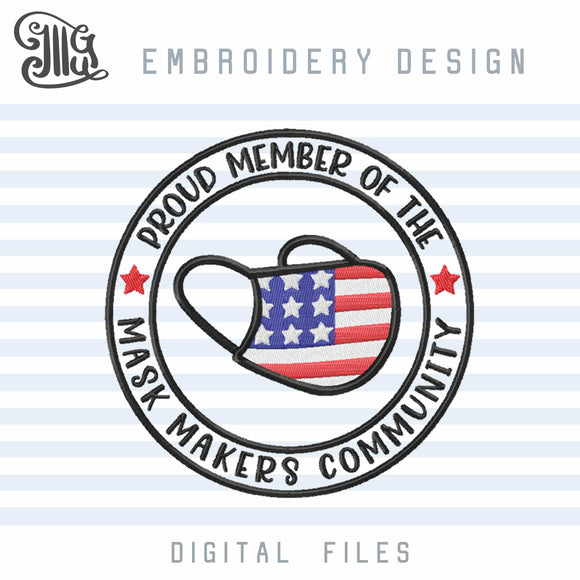 Mask Maker Embroidery Designs, Social Distance Embroidery Pattern, Quarantine Embroidery Stitches, American Flag Embroidery Patch-by Illustrator Guru