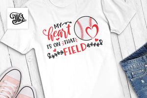 My Heart is on that field Svg for Mom Baseball Shirts for Moms, baseball svg-by Illustrator Guru