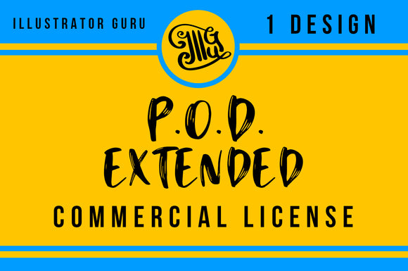 Print on demand designs extended commercial license-by Illustrator Guru