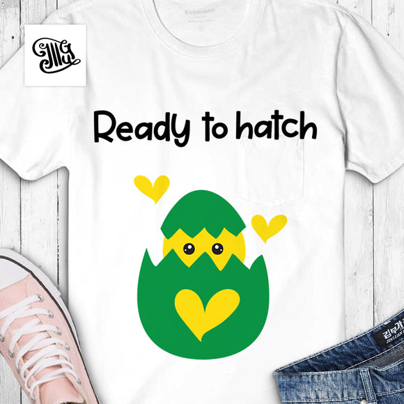 Ready to hatch svg, pregnancy svg, chick hatching egg svg, baby girl announcement svg, baby boy announcement svg, Easter egg hatching svg, funny egg svg, cute chick svg, girl Easter svg, boy Easter svg, mommy Easter svg,-by Illustrator Guru
