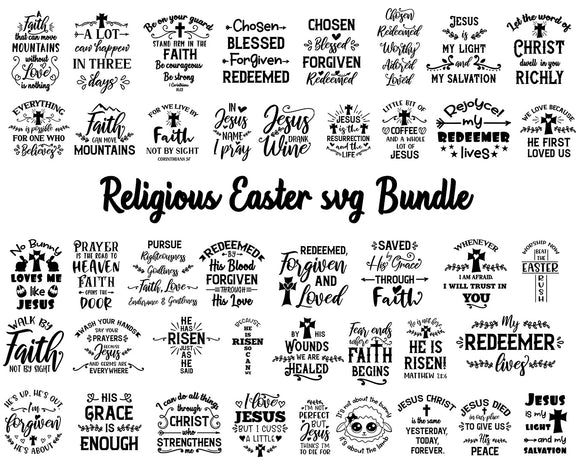 Easter Svg Bundles | 43 Easter Religious Svg Bundles | Christian Svg Files Christian Quotes Svg | Religious Cross Svg | Religious Quotes Svg-by Illustrator Guru