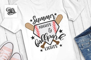 Summer Nights and Ballpark Lights Svg for baseball shirts, baseball svg-by Illustrator Guru