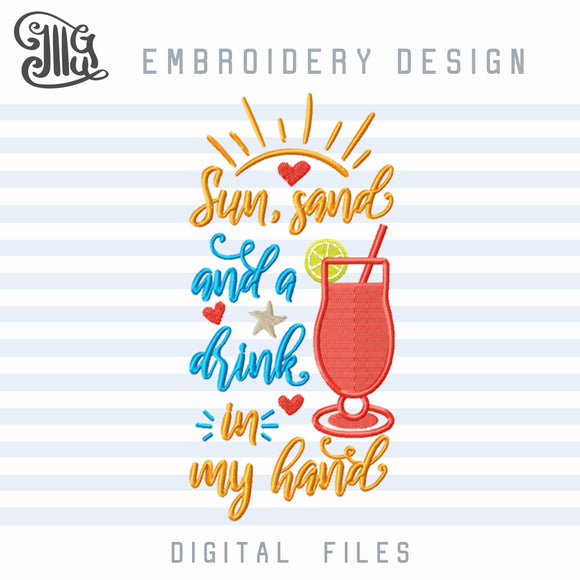 Beach Embroidery Designs, Sun Embroidery Pattern, Sand Embroidery Sayings, Drinking Embroidery Files, Summer Embroidery-by Illustrator Guru