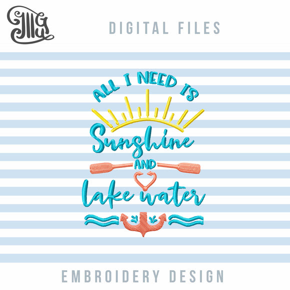 Sunshine Embroidery Designs, Lake Embroidery Patterns, Summer Embroidery Files, Vacation Embroidery Stitches, Sun Rays Embroidery Quotes, Sun Pes, Lake Sayings Embroidery-by Illustrator Guru