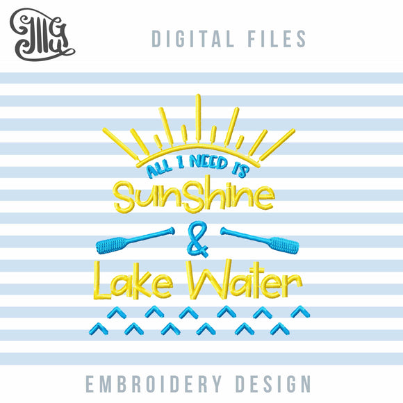 Lake Sayings Embroidery Designs, Sunshine Embroidery Pattern, Camping Embroidery Stitches, Summer Embroidery, Vacation Embroidery, Travel Embroidery, Lake Cabin Embroidery-by Illustrator Guru