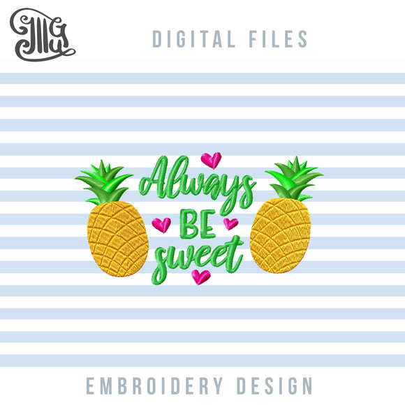 Cute Pineapple Embroidery Designs, Golden Pineapple Embroidery Patterns, Summer Pes Files, Vacation Jef Files, Tropical Machine Embroidery, Girl Summer Embroidery-by Illustrator Guru