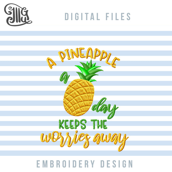 Pineapple Embroidery Designs, Tropical Pineapple Embroidery Pattern, Summer Pes Files, Golden Pineapple Jef Files, Exotic Embroidery Files, Summer Fruits Embroidery, summer embroidery-by Illustrator Guru