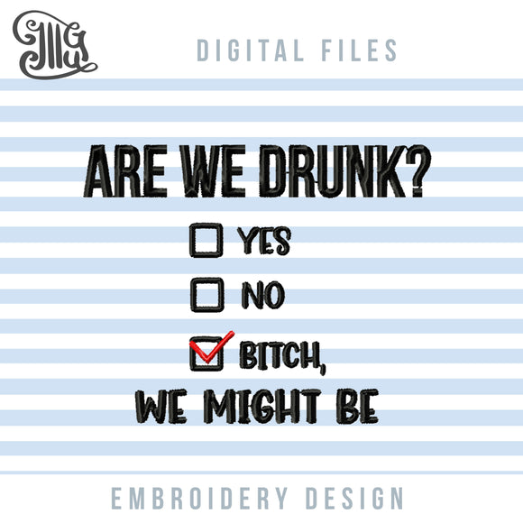 Funny Drinking Embroidery Patterns, Adult Humor Embroidery Designs, Rude Alcohol Pes Files, Drunk Embroidery Files, Beer Can Koozies Embroidery, Kitchen Towels Embroidery, Gift Totes Embroidery, Gift Bags-by Illustrator Guru