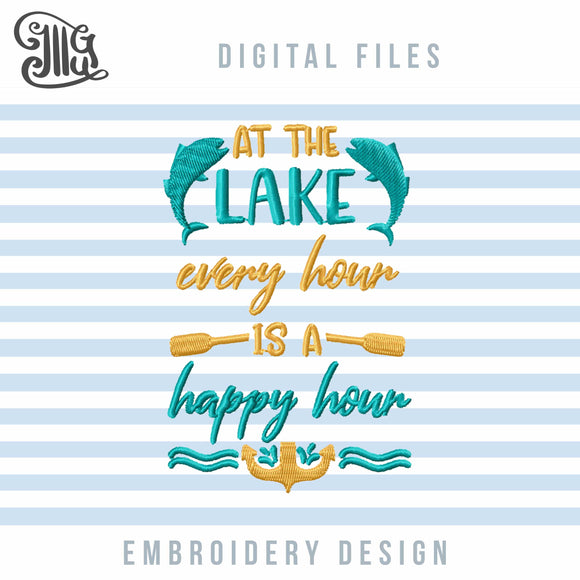 Lake Embroidery Designs, Fishing Embroidery Pattern, Camping Embroidery Stitches, Anchor Embroidery Files, Boat Paddles Embroidery Quotes, Waves Embroidery, Lake Sayings Embroidery, Summer Embroidery, Vacation Embroidery-by Illustrator Guru