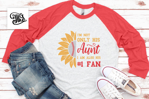 Baseball Aunt SVG Files, NR 1 Fan Baseball Clipart, Baseball Sayings PNG for Sublimation, Baseball Quotes, Aunt Shirt SVG Cut Files, Half Sunflower SVG, Sport SVG-by Illustrator Guru