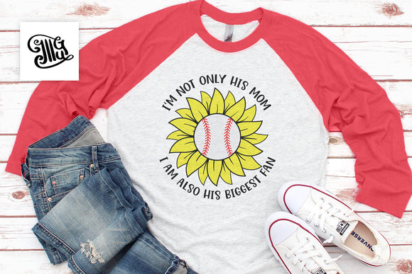 Baseball Sunflower Svg Cut Files, Baseball Svg, Summer Clipart, Baseball Mom Svg Files, Biggest Fan Baseball PNG for Sublimation, Baseball Shirt Design-by Illustrator Guru