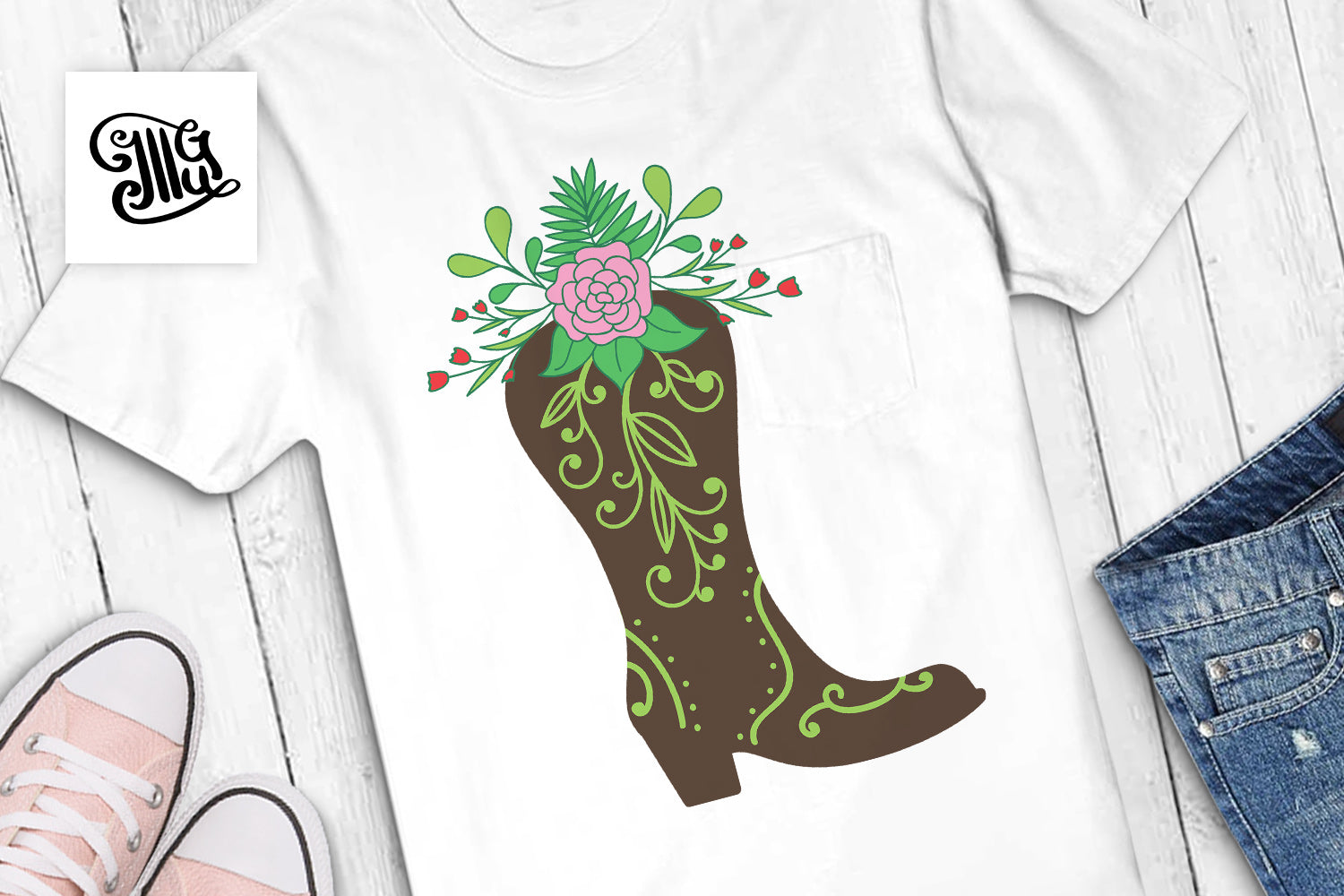 Boots with flowers SVG | Floral boots svg | Cowgirl floral boots svg | Boots and bling svg | Southern svg | Southern girl svg, Southern sayings svg svg | Southern sayings svg-by Illustrator Guru