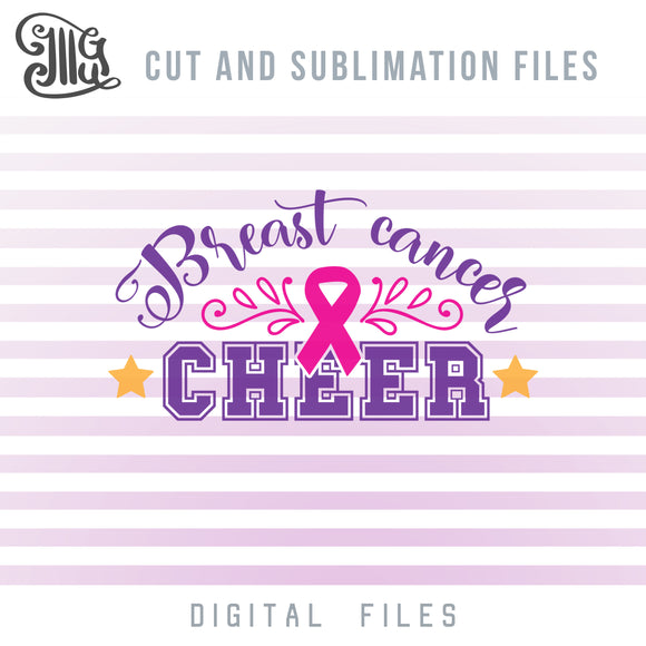 Breast Cancer Cheer SVG, Cheerleading Clipart, Pink Ribbon PNG, Cheer Bow Sublimation Downloads, Cheerleader SVG Images, Breast Cancer Awareness SVG Files, Breast Cancer SVG Design, Breast Cancer Shirt SVG,-by Illustrator Guru