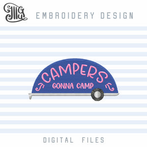 Camper Embroidery Designs Free, Camping Sayings Embroidery Pattern, Camp Embroidery Files, Camping Chair Embroidery, Camping Embroidery Stitches, Hiking Embroidery, Vacation Embroidery, Summer Embroidery, Mountain Embroidery, free embroidery-by Illustrator Guru