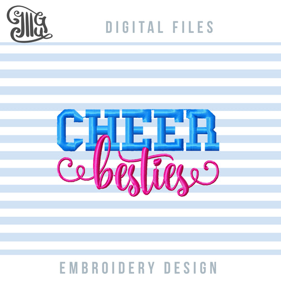 Cheer Besties Embroidery Patterns FREE, Cheerleading Embroidery Designs free, Free Cheerleader Pes Files, Cheer Dst Files, cheer free embroidery-by Illustrator Guru