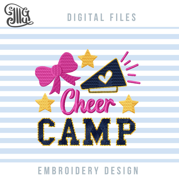 Cheer Camp Embroidery Designs, Cheerleading Embroidery Patterns, Cheer Pes Files, Megaphone Embroidery Files, Cheer Bow Embroidery Stitches, Cheer Sayings Embroidery, cheer embroidery-by Illustrator Guru