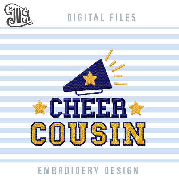 Cheer Cousin Embroidery Designs, Cheerleading Embroidery Patterns, Cheer Bow Pes Files, Cheer Megaphone Embroidery Stitches, Football Cheer Embroidery, Football Cap Embroidery-by Illustrator Guru